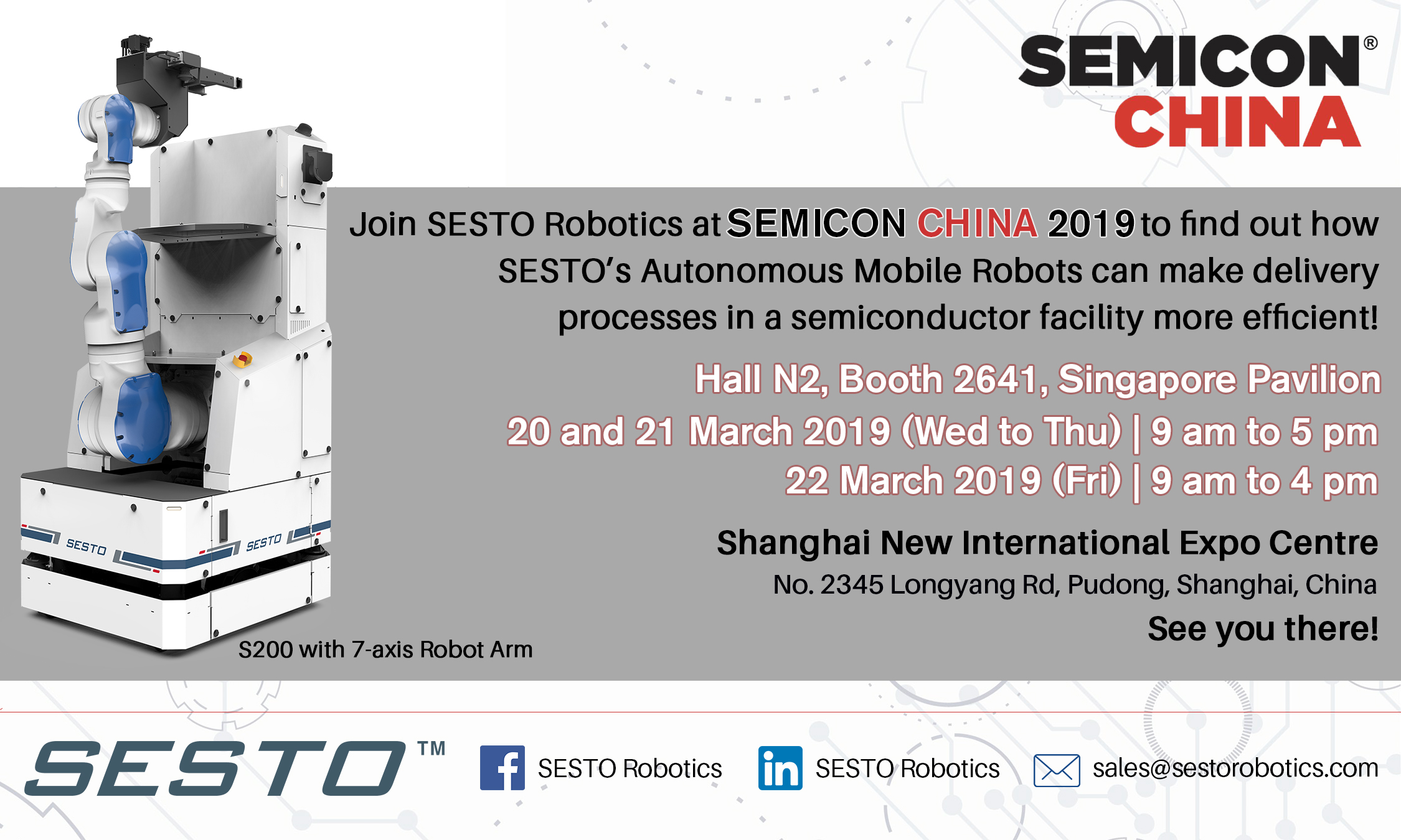 SESTO Robotics invites you to SEMICON China 2019!