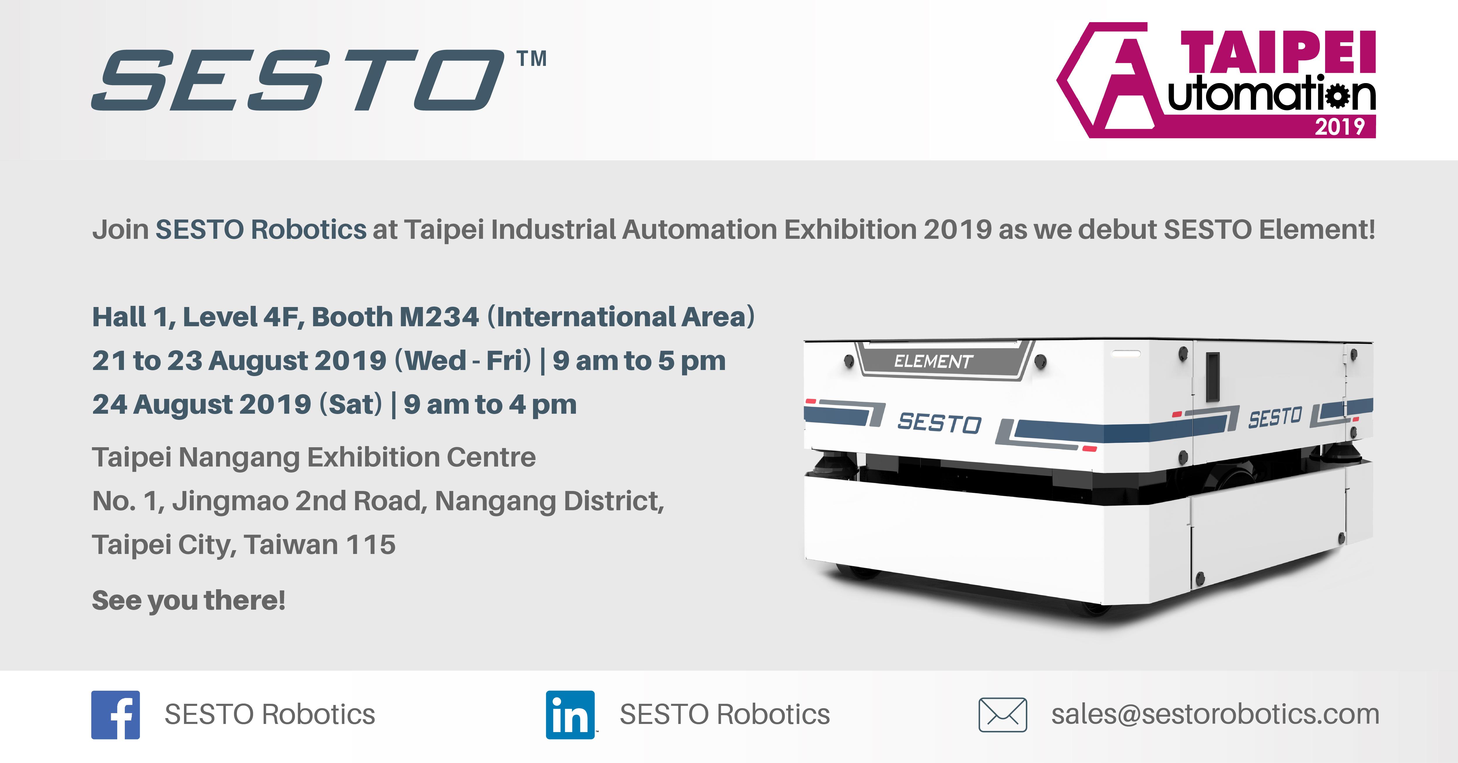 SESTO Robotics invites you to Taipei Industrial Automation Exhibition 2019